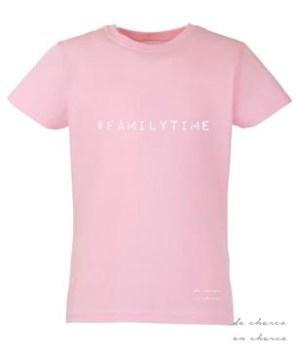 camiseta niña familytime rosa www.decharcoencharco.com