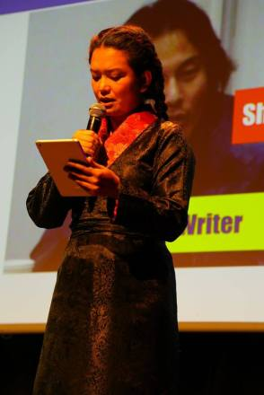 "Sonam reads a poem by Theurang called ""Today, I wish to offer three prostrations towards Lhasa"", translated by Bhuchung D. Sonam."