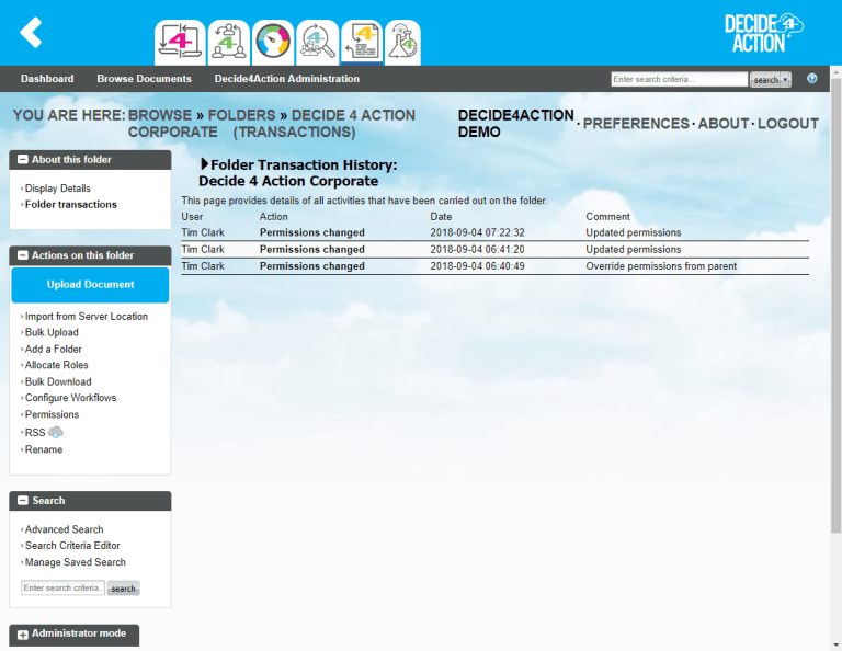 Document4Action folder transactions screenshot