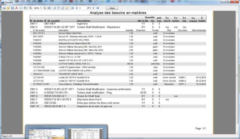 Material needs analysis screenshot