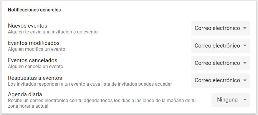Configurar notificaciones en Google Calendar