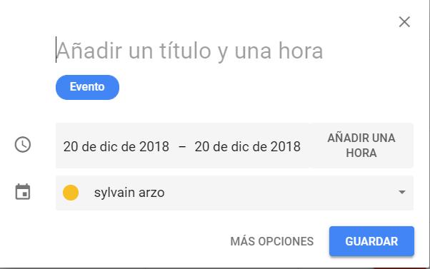 Crear un evento en Google Calendar