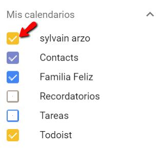 Mostrar calendarios en Google Calendar