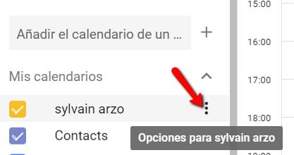 Opciones de calendario en Google Calendar