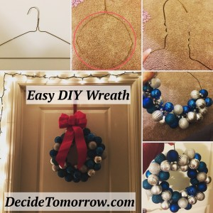 Easy Christmas Wreath DIY with only a hanger, ornaments and a bow!