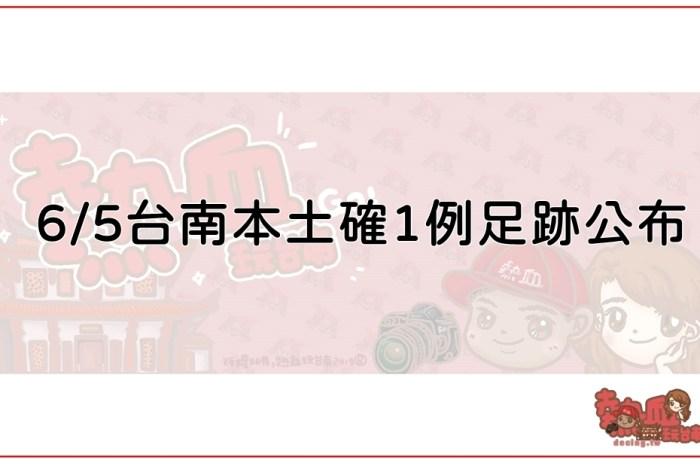 6/5台南本土確診1例足跡公布,相關場所台南市政府已消毒完畢!