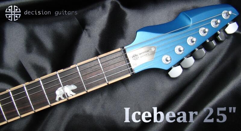"icebear blue 25"" headstock"