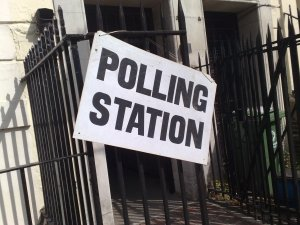 UK polling station sign
