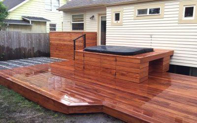 Mahogany deck with hot tub