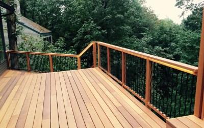 Clear cedar deck with lighted rail