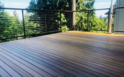 Ipe deck with cable railing