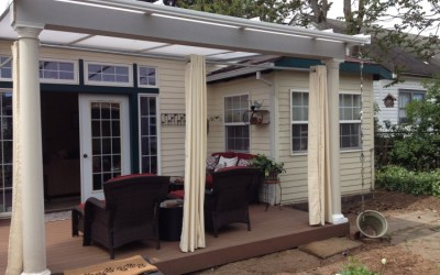 Patio cover with curtains