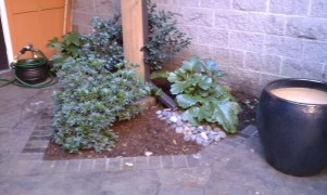 Drysnap under deck drainage system downspout with river