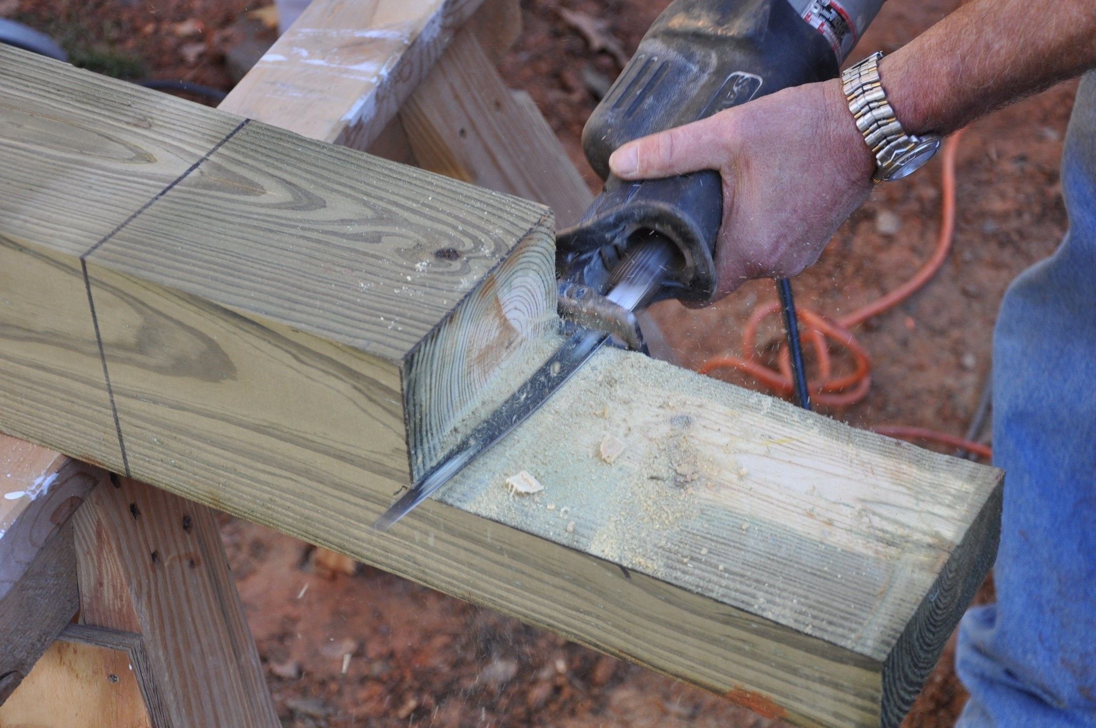 How To Connect A Notched Wood Post To A Beam