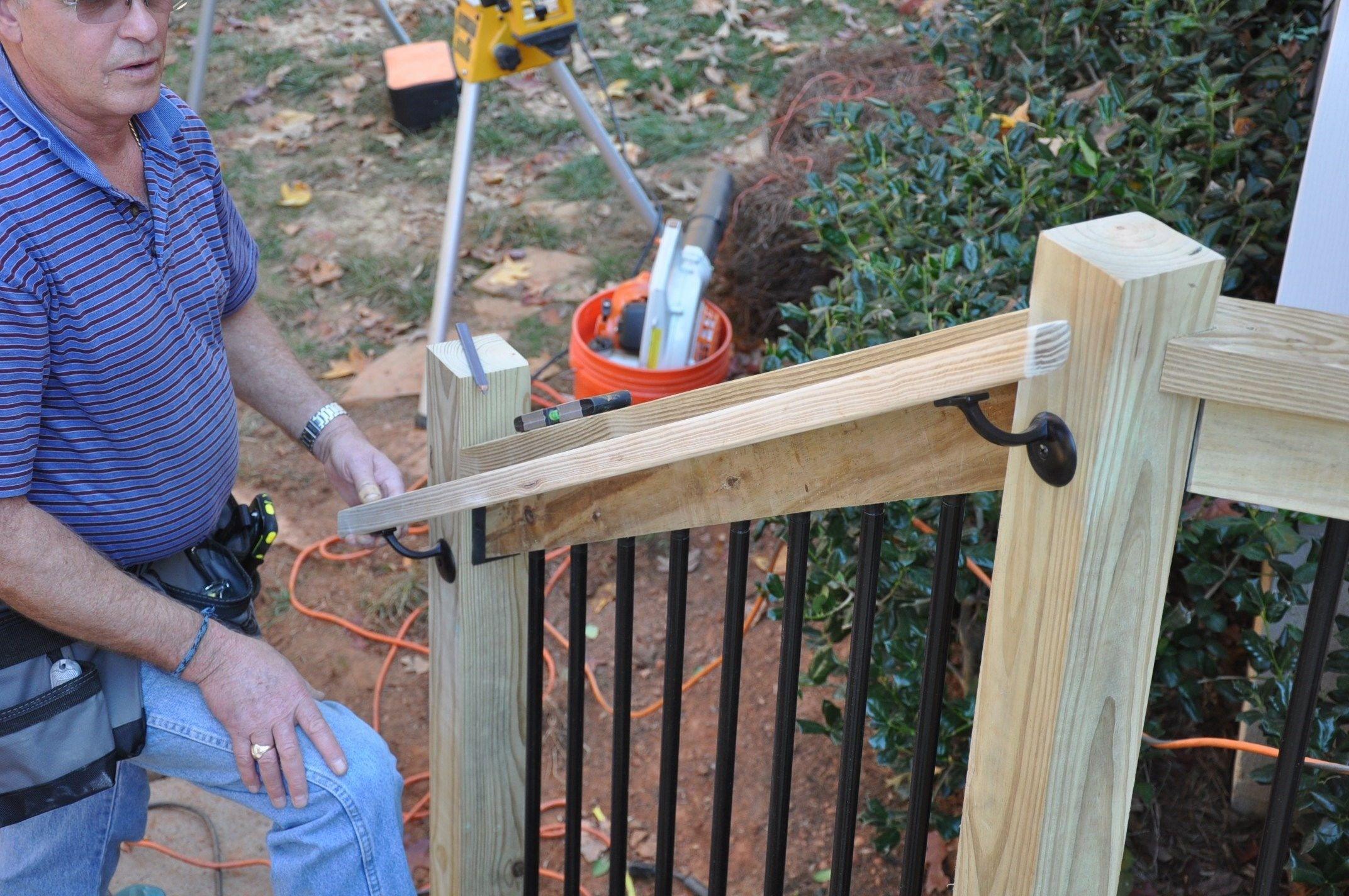 How To Install Deck Stair Railings Decks Com | Pressure Treated Round Handrail | Menards | Aluminum Balusters | Baluster | Cedar | Porch