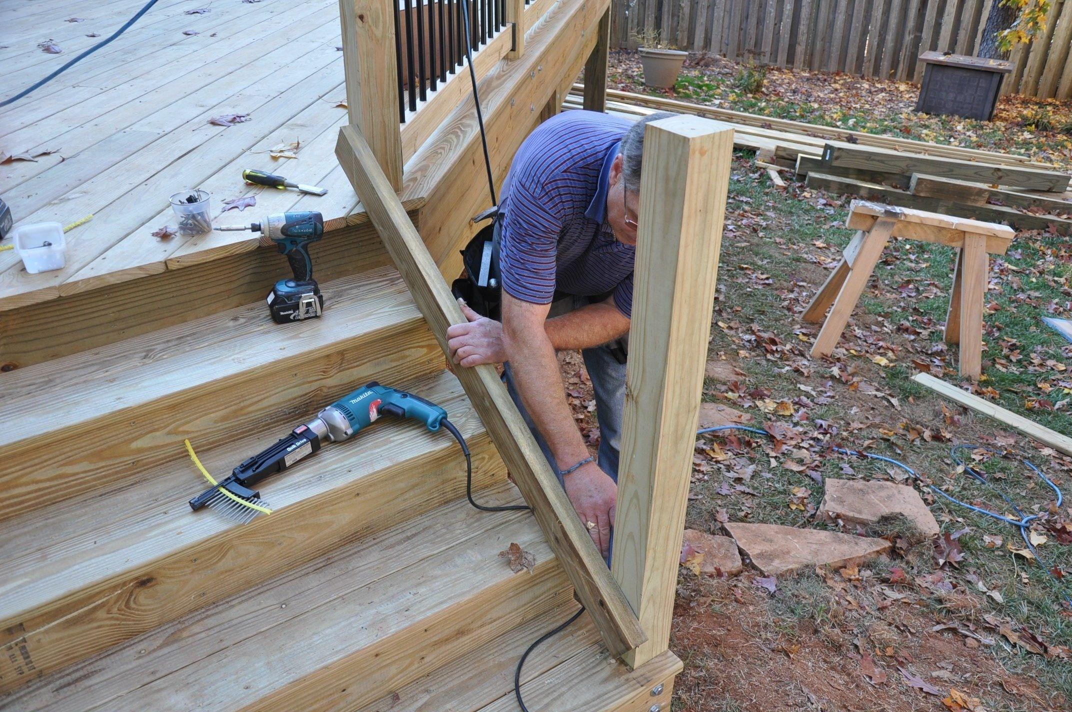 How To Install Deck Stair Railings Decks Com   Exterior Stair Railings Near Me   Stair Treads   Porch   Front Porch   Porch Railing   Railing Ideas