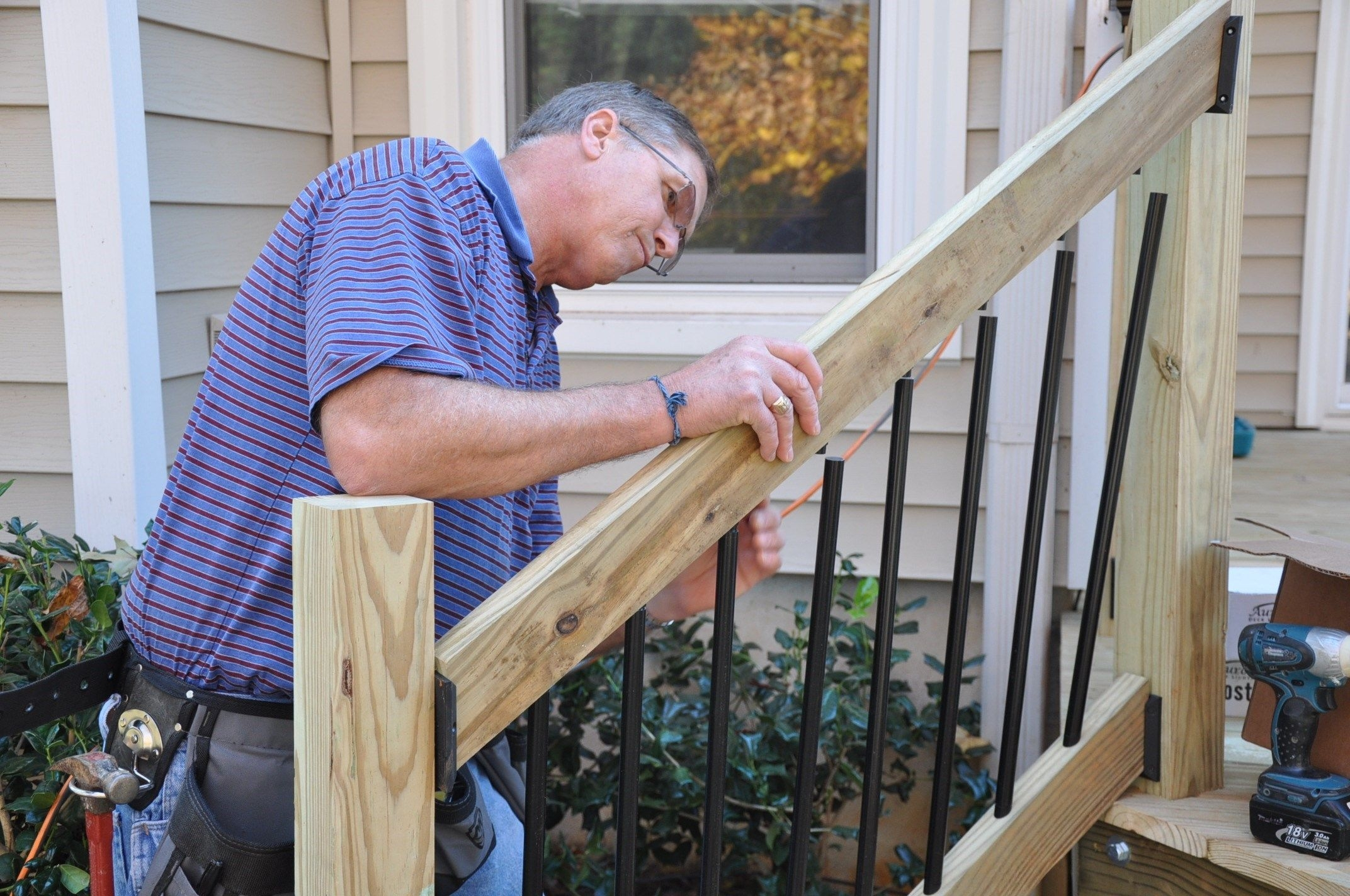 How To Install Deck Stair Railings Decks Com | Premade Wooden Steps For Porch | Cedar Tone | Deck Stairs | Fiberglass | Concrete Stairs | Manufactured Homes