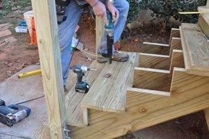 Deck Stairs Steps And Landings Decks Com   Diy Outdoor Wooden Steps   Grass Sl*P*   Backyard   Wood Entry   Corner Deck   Landscaped