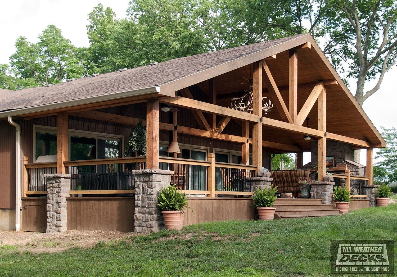 Burning Pressure Treated Wood In Fireplace Image Fireplace And Gabled Roof Covered Deck - Picture 7676 | Decks.com