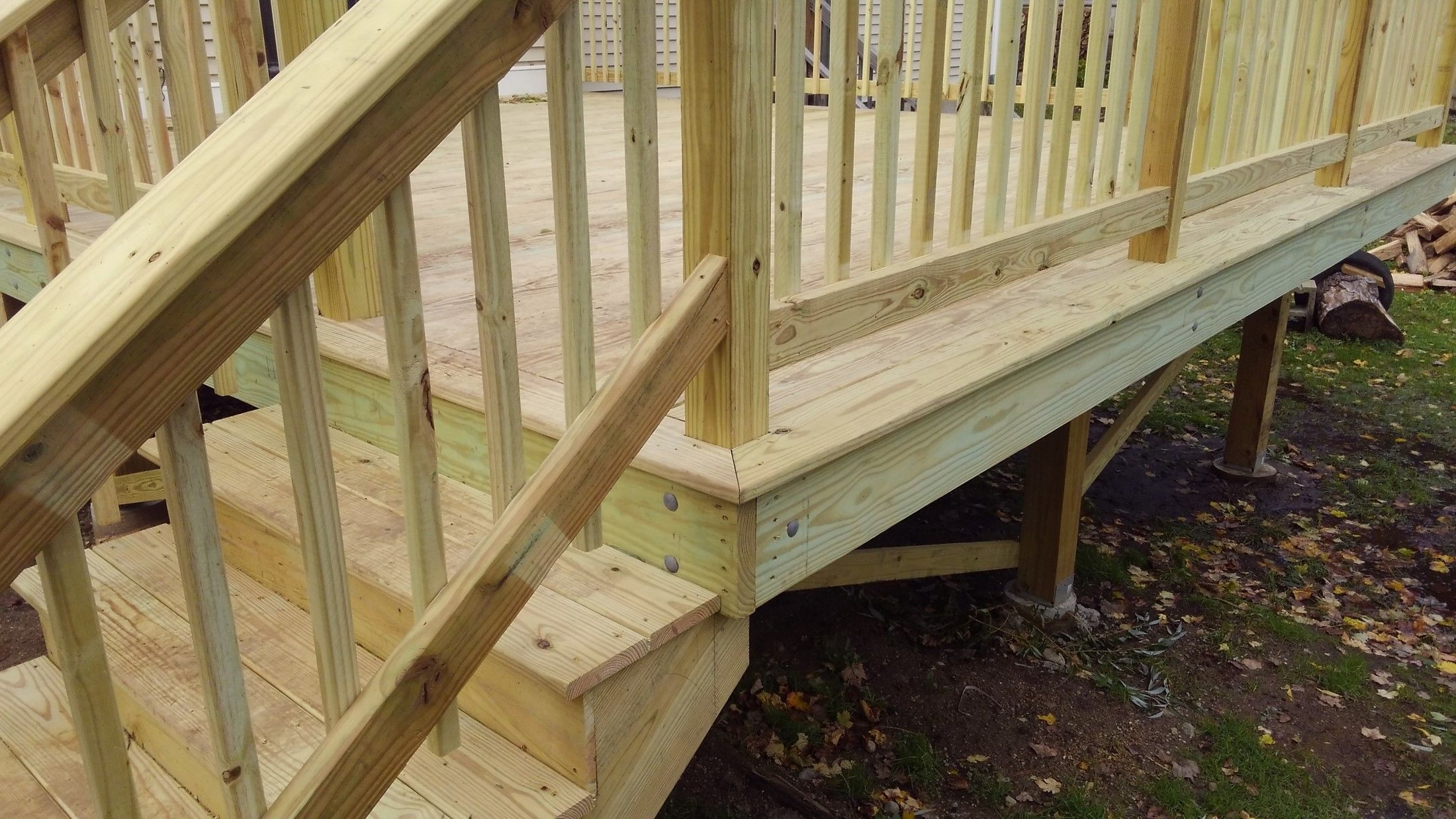New Pressure Treated Deck Picture 7694 Decks Com   Pressure Treated Stair Handrail   Basic Deck   Deck Rail   Cedar   Guard   Concrete Step