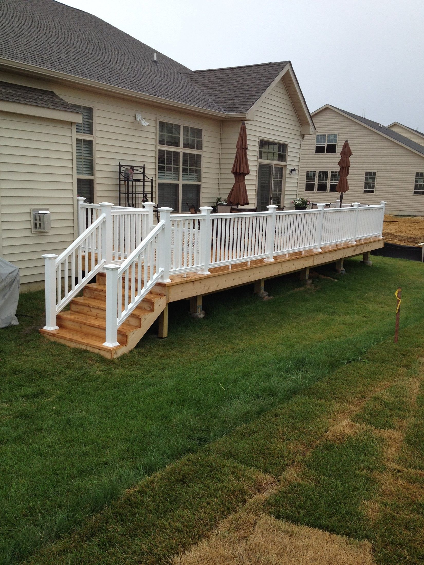 Front Two Railings Wood Porch Steps