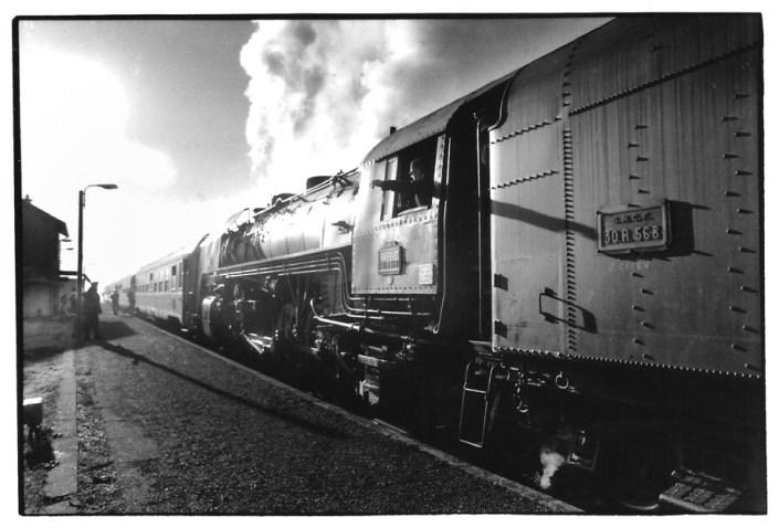 Locomotive à vapeur, Aveyron, noir et blanc argentique, Jean-Pierre Devals