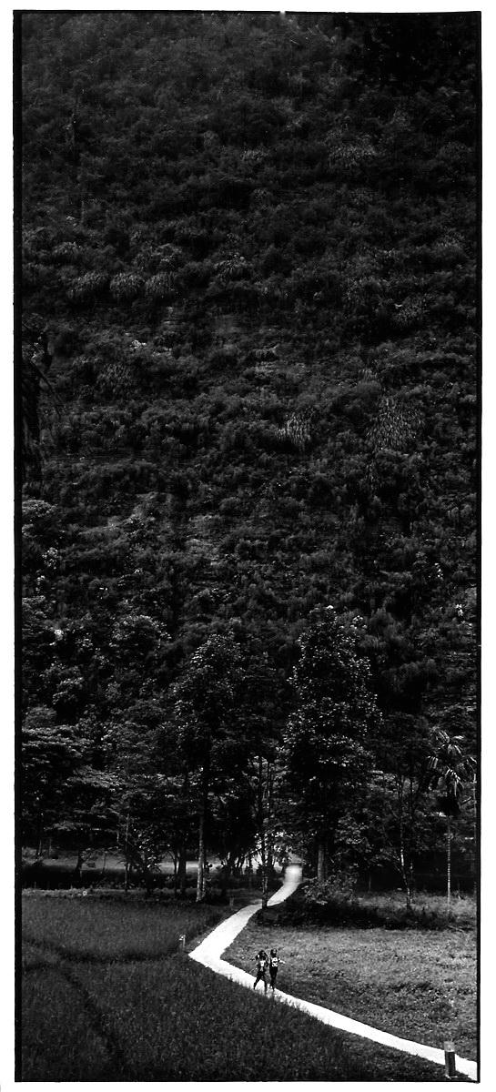 Chemin blanc, Indonésie, vues photographiques, photo argentique