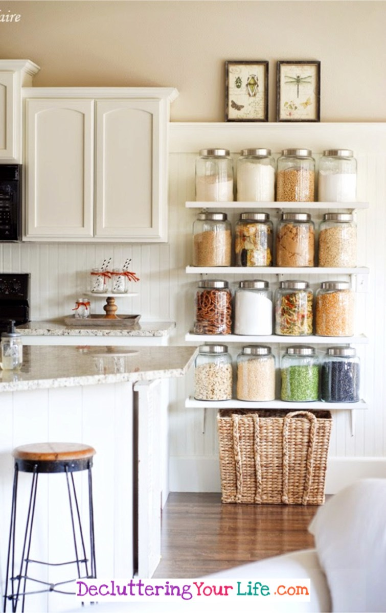 Beautiful DIY idea to declutter AND organize in your kitchen.  These DIY COuntry Store Shelves are not only practical to help cut down clutter, they are also BEAUTIFUL.