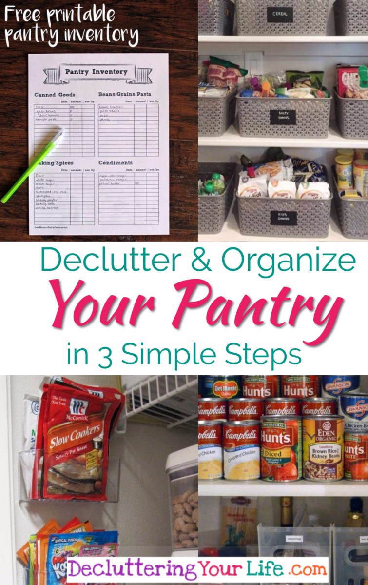 Pantry organization ideas - DIY kitchen pantry decluttering ideas - Declutter and organize your pnatry in 3 simple steps.  Great pictures of organized pantries too!