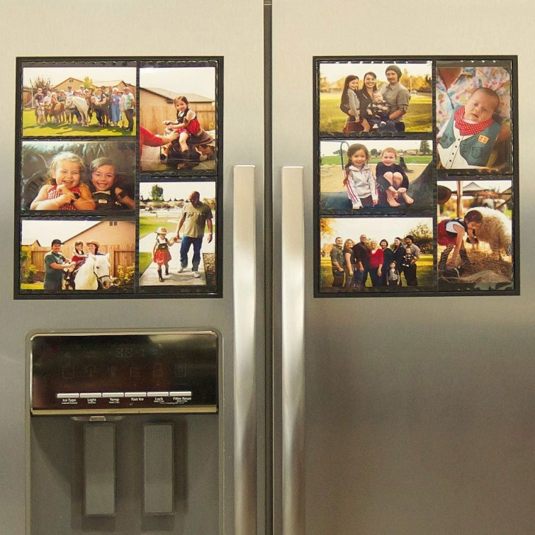 Brilliant idea to help your kitchen look a lot neater when you're decluttering - a magnetic collage picture frame for your refrigerator