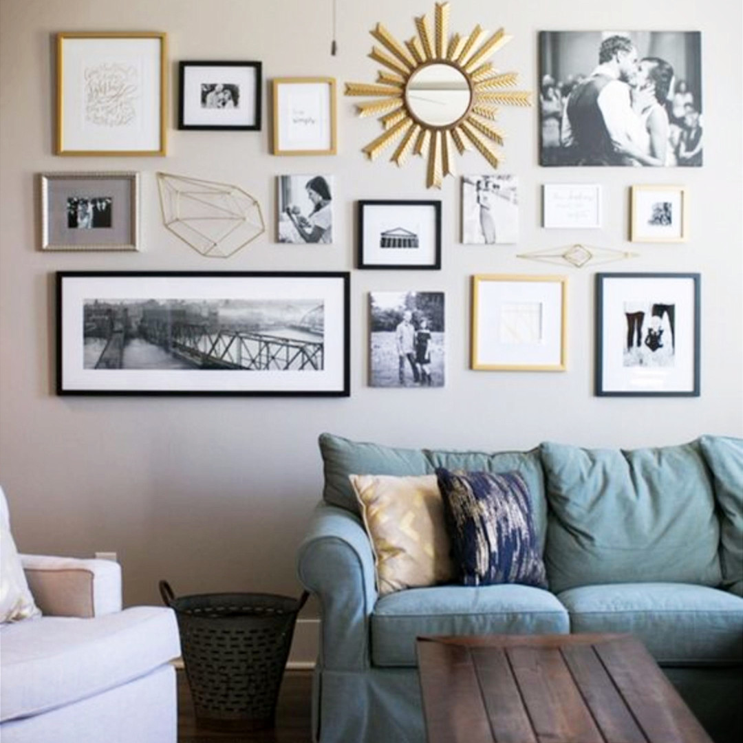 living room decorating ideas picture frames modern bench seating diy gallery wall accent to copy idea for gallerywallideas decoratingideas livingroomideas