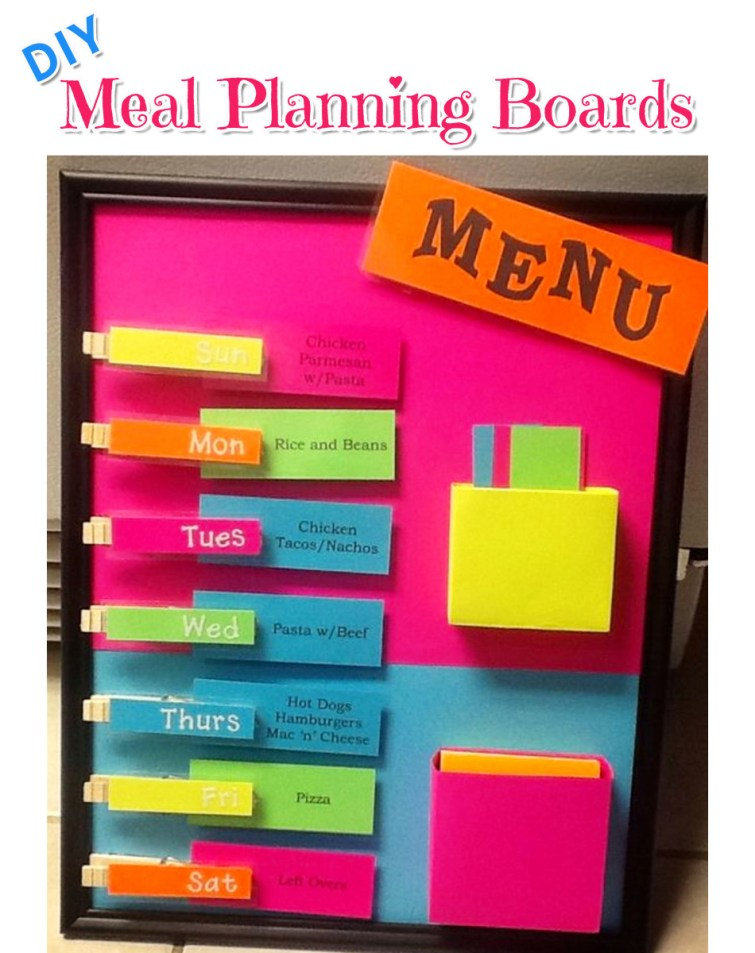 DIY menu planning boards - weekly meal planners for wall