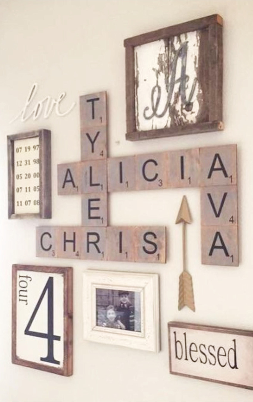 Wall decor using pictures and letters
