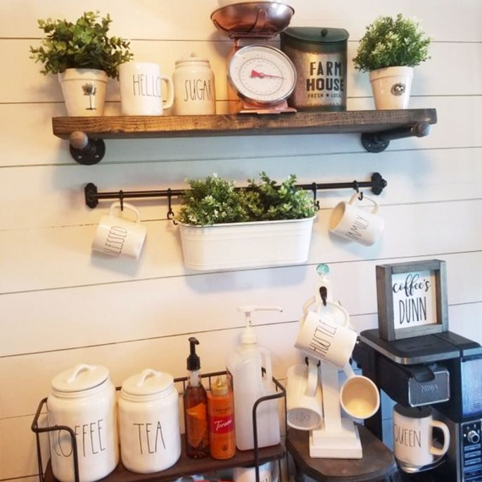 Home Coffee Bar Design Ideas: Stunning Farmhouse Style Beverage