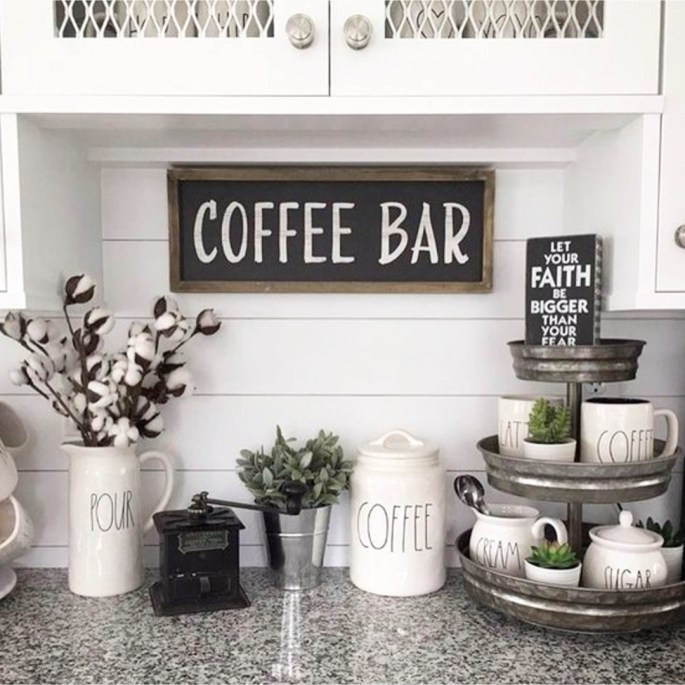 Kitchen Signs Hobby Lobby: Stunning Farmhouse Style Beverage Stations For Small Spaces And Tiny