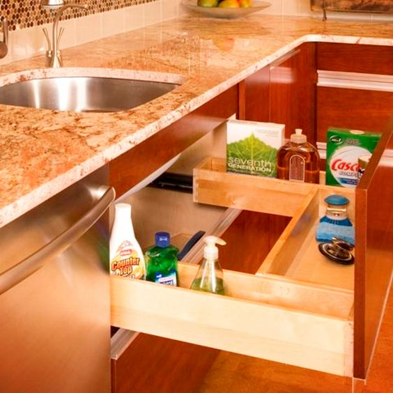 What a great use of space under your kitchen sink to declutter and organize your kitchen