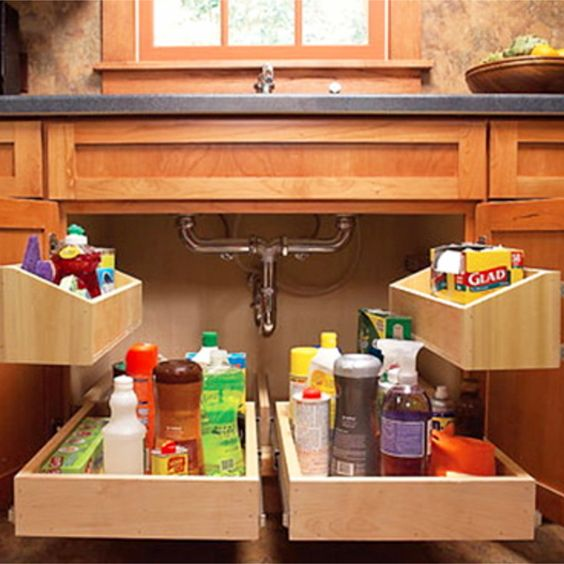 Smart way to declutter and organize under your kitchen sink - and wow, how easy it would be to find everything!