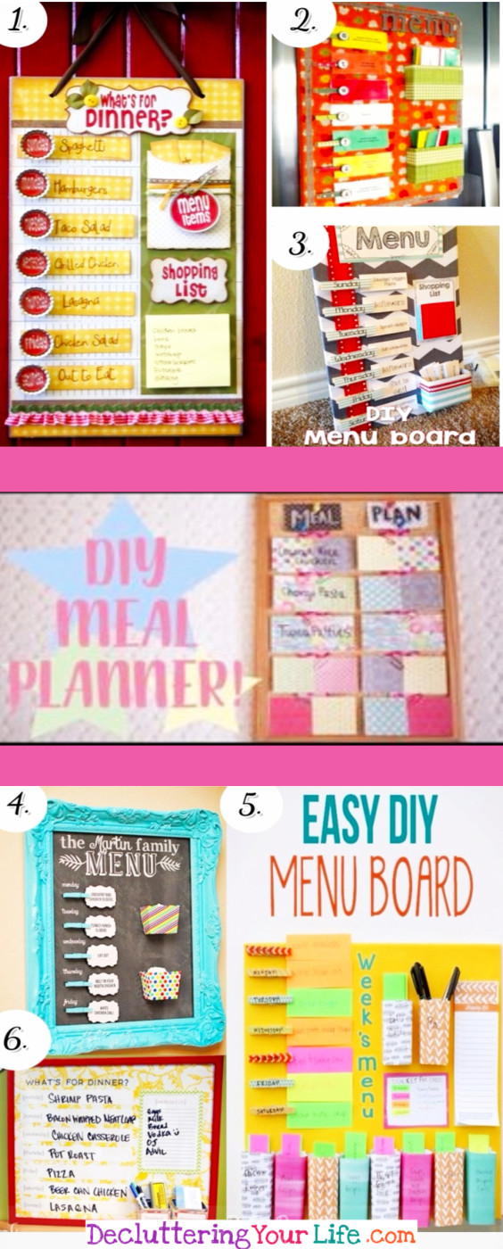Weekly meal planning board DIY ideas - make a menu planner for your wall