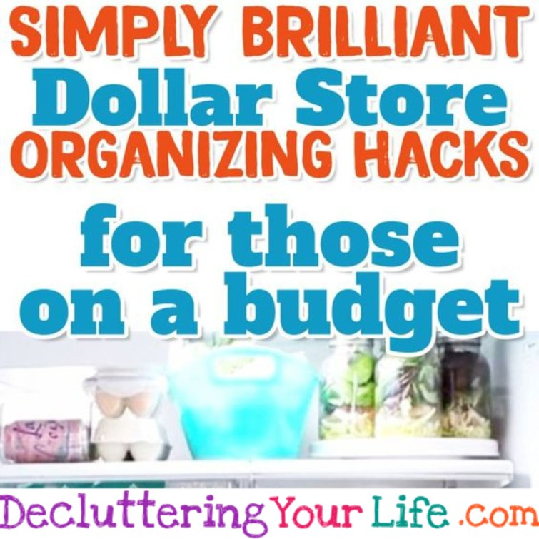 Dollar Store Organizing Hacks for those on a budget - works for Dollar General & Dollar Tree too #organizationideasforthehome #organizationdiy #organizingideas #organizationhacks #getorganized #gettingorganized #lifehacks