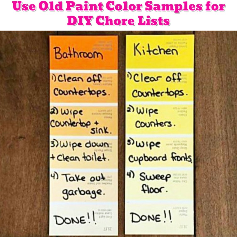 Organize To Do Lists and Chores with Old Paint Samples - Getting Organized - 50+ Easy DIY organization Ideas To Help Get Organized