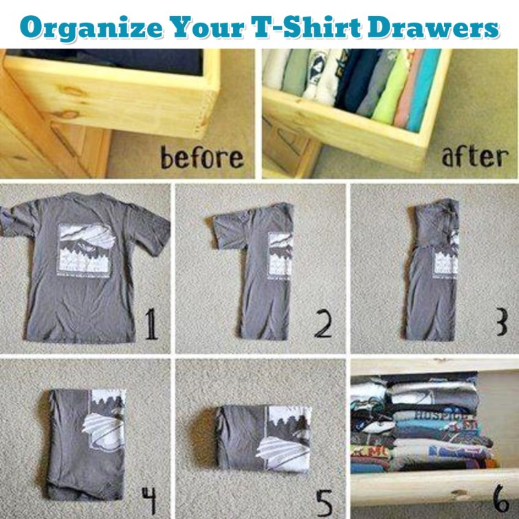 Bedroom organization ideas - how to fold shirts for more room - Getting Organized - 50+ Easy DIY organization Ideas To Help Get Organized