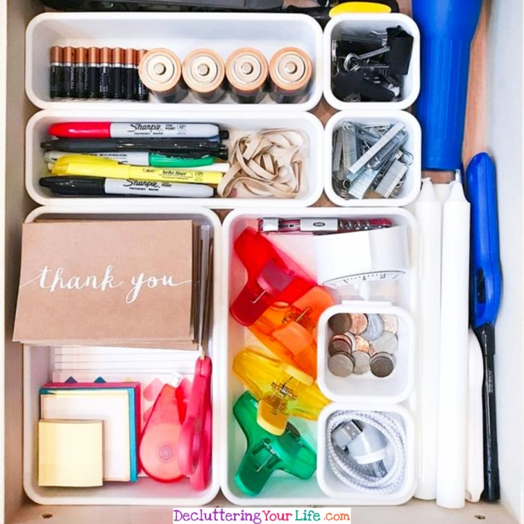 How to organize your office drawers or junk drawer - simple DIY ideas