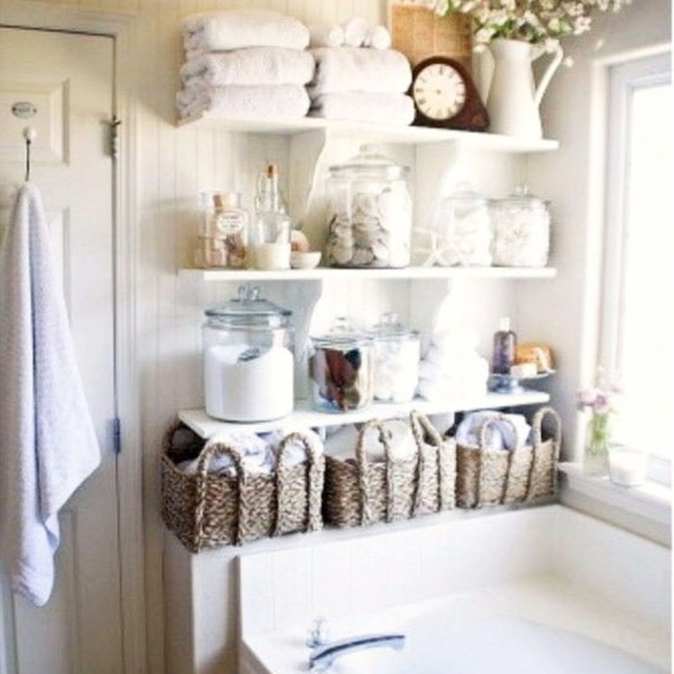 Creative way to get more storage space in a small bathroom