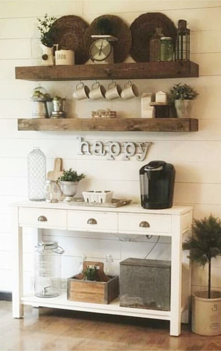 coffee area cabinet ideas - cute for a farmhouse style kitchen or dining room with a coffee bar area