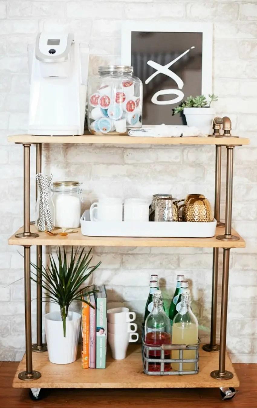 DIY Coffee Bar Cart For Your Kitchen Coffee Area #kitchenideas  #diyroomdecor #homedecorideas #