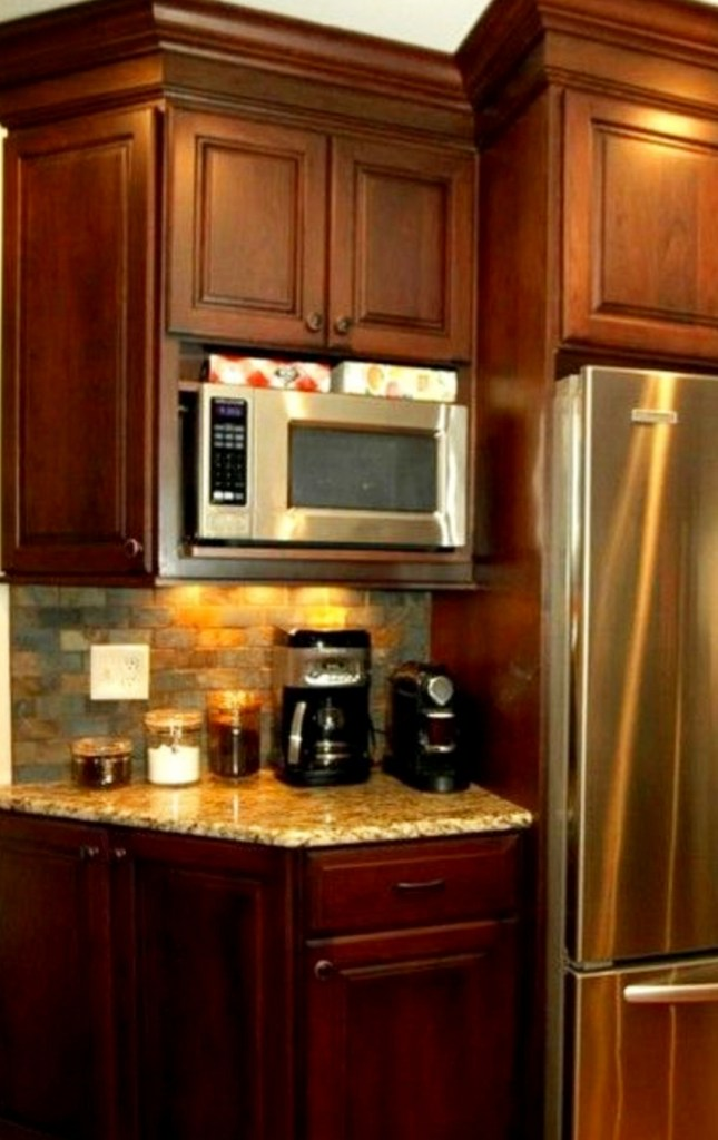 Small corner coffee area on kitchen counter