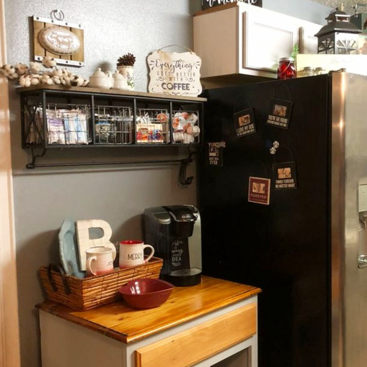 Simple coffee area set up in this unused wall in my small kitchen