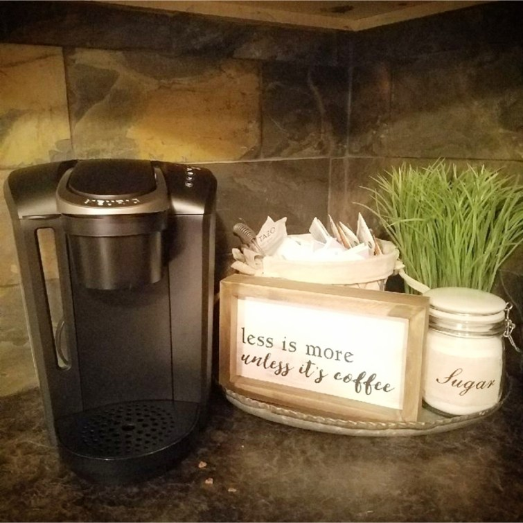 Love this ideas for a little coffee nook / coffee area in the condo kitchen