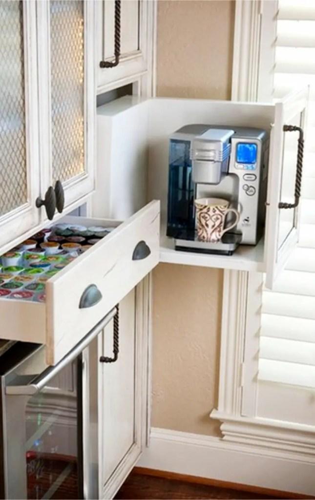 Coffee area idea inside kitchen cabinets