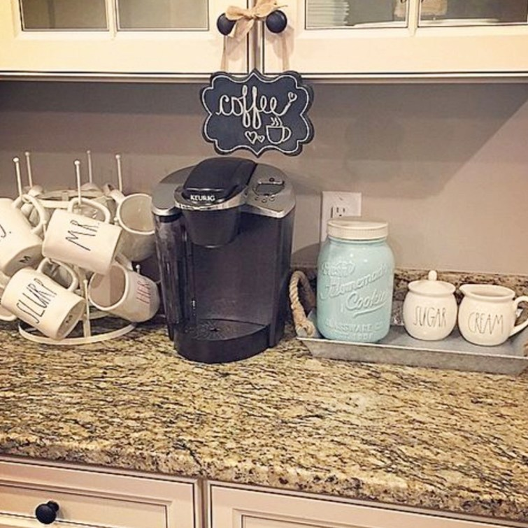 Pretty and easy coffee area set up in the kitchen